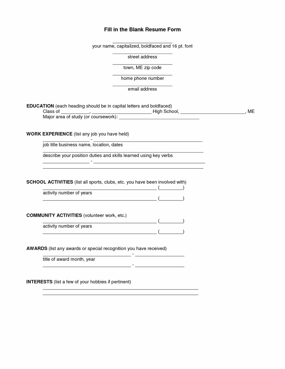 Blank Resume Format Free Download