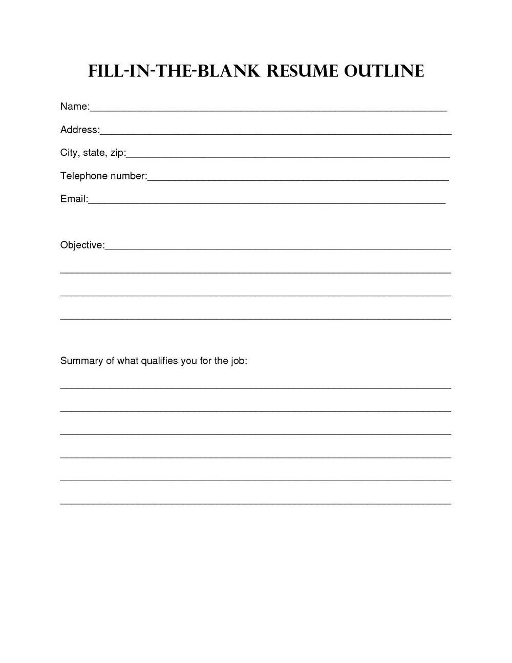 Blank Resume Template Pdf
