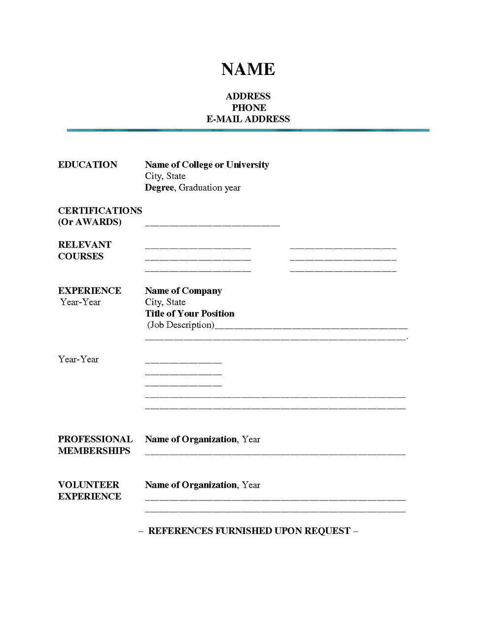 Blank Resume To Fill Out And Print