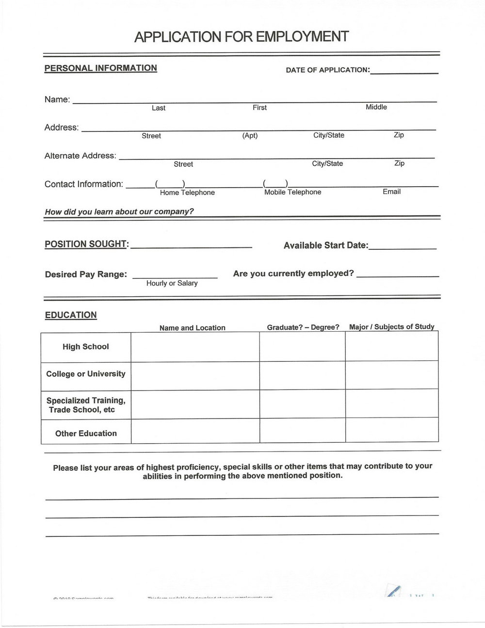 Blank Resumes To Fill In