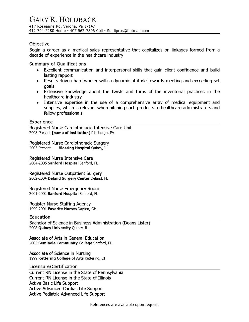 Cna Resume Template Free
