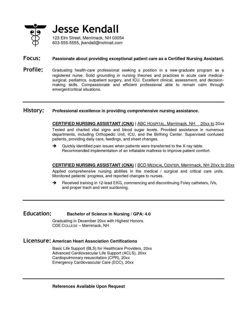 Cna Resume Templates Free
