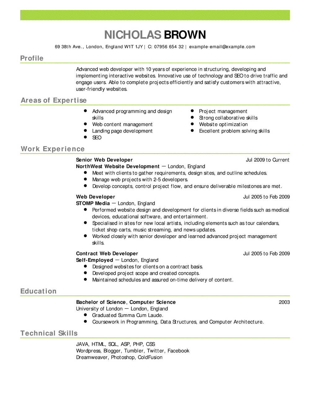 Completely Free Resume Templates