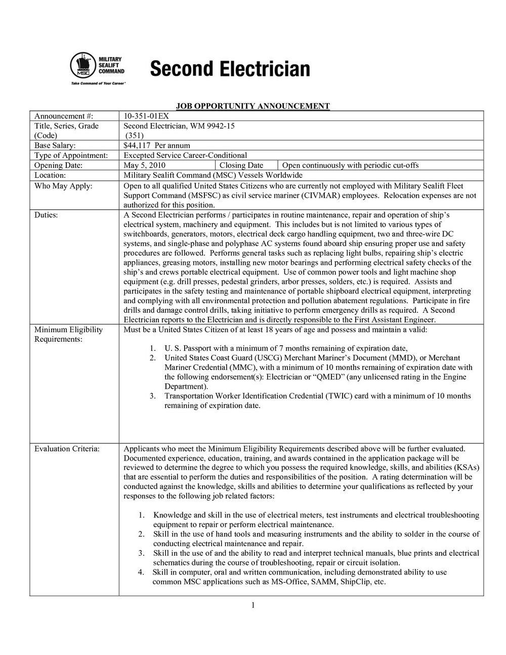 Electrician Job Application