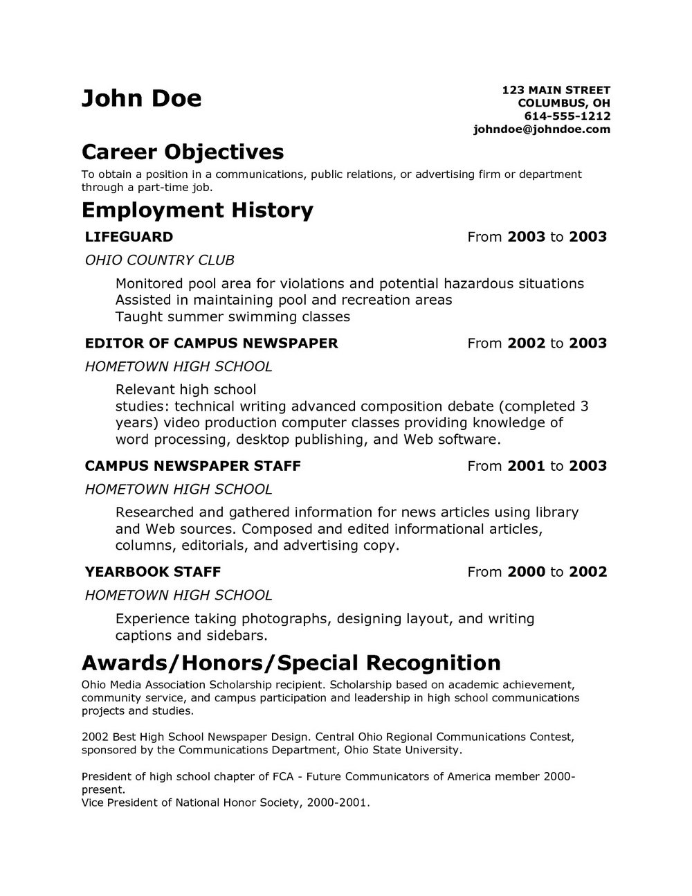 Examples Of Resumes For Teenagers