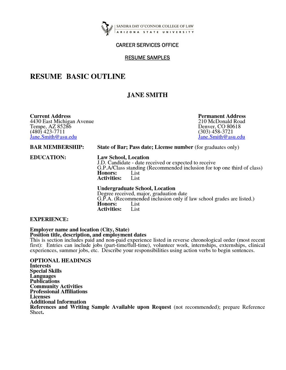 Resume Example Resume Template Outline Resume Outline Template W