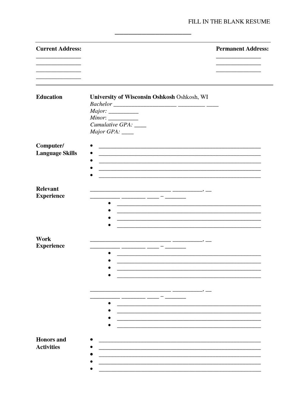 Fill In The Blank Resume Worksheet