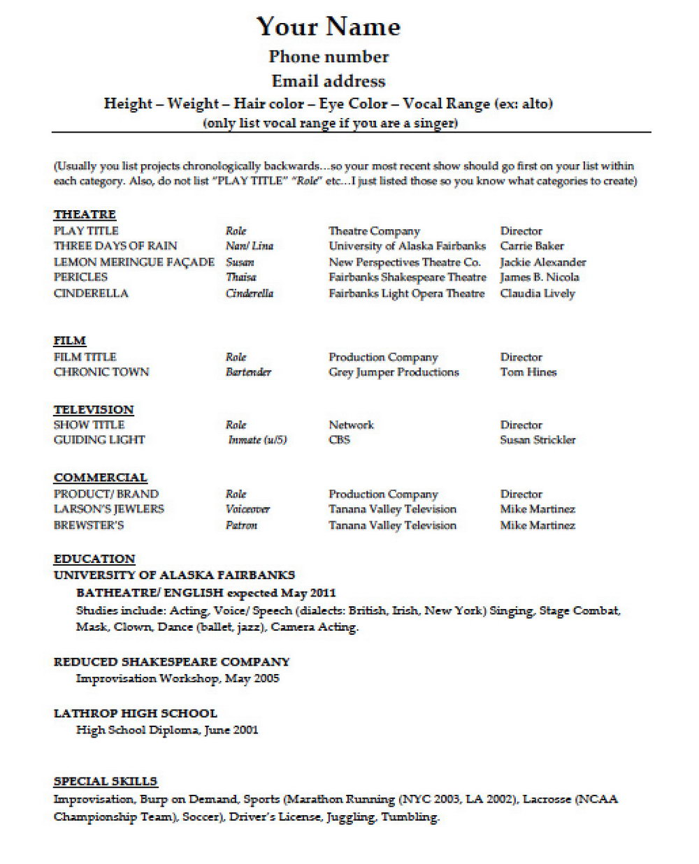 Free Acting Resume Template