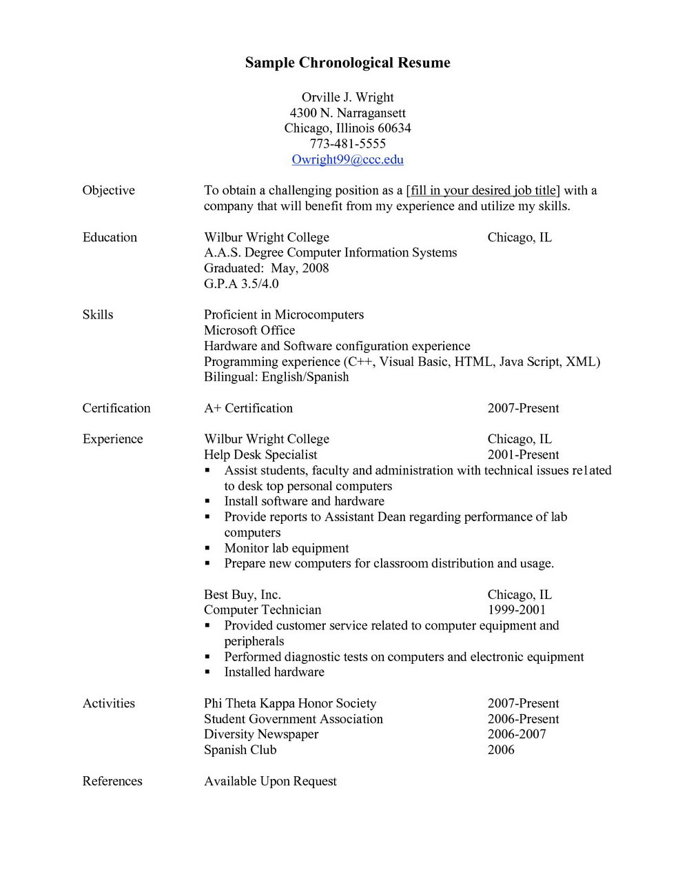 Resume Examples Chronological Resume Examples Resume Samples Per