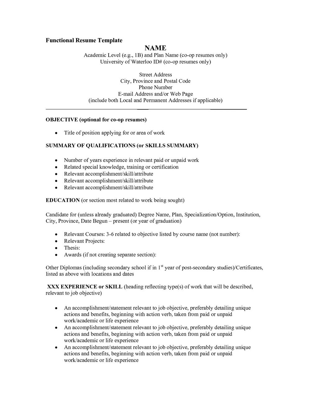 Free Functional Resume Templates 2017