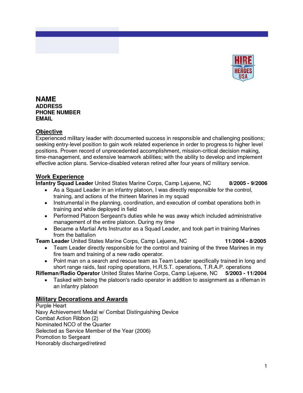 Free Military Resume Templates