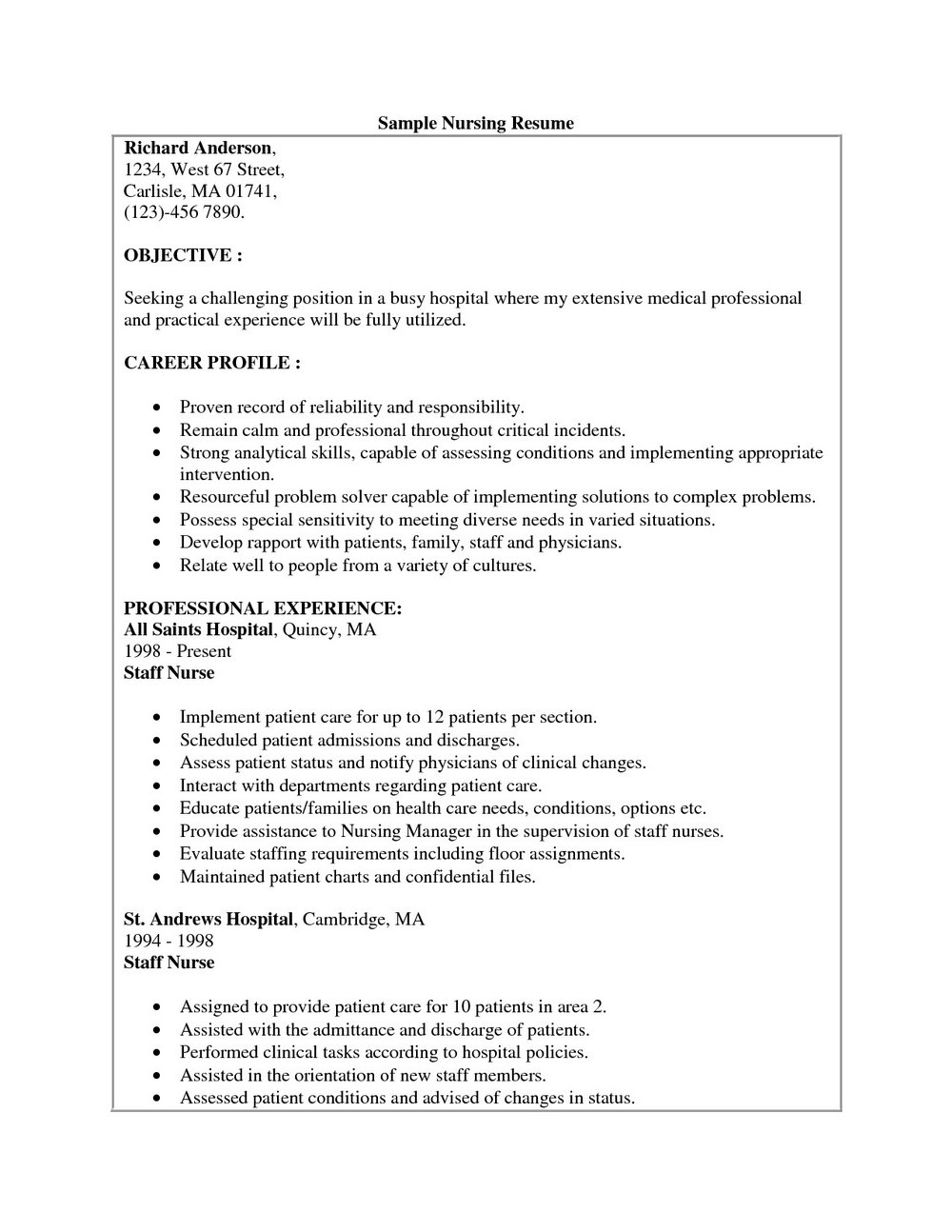 Free Nursing Resume Templates Microsoft Word