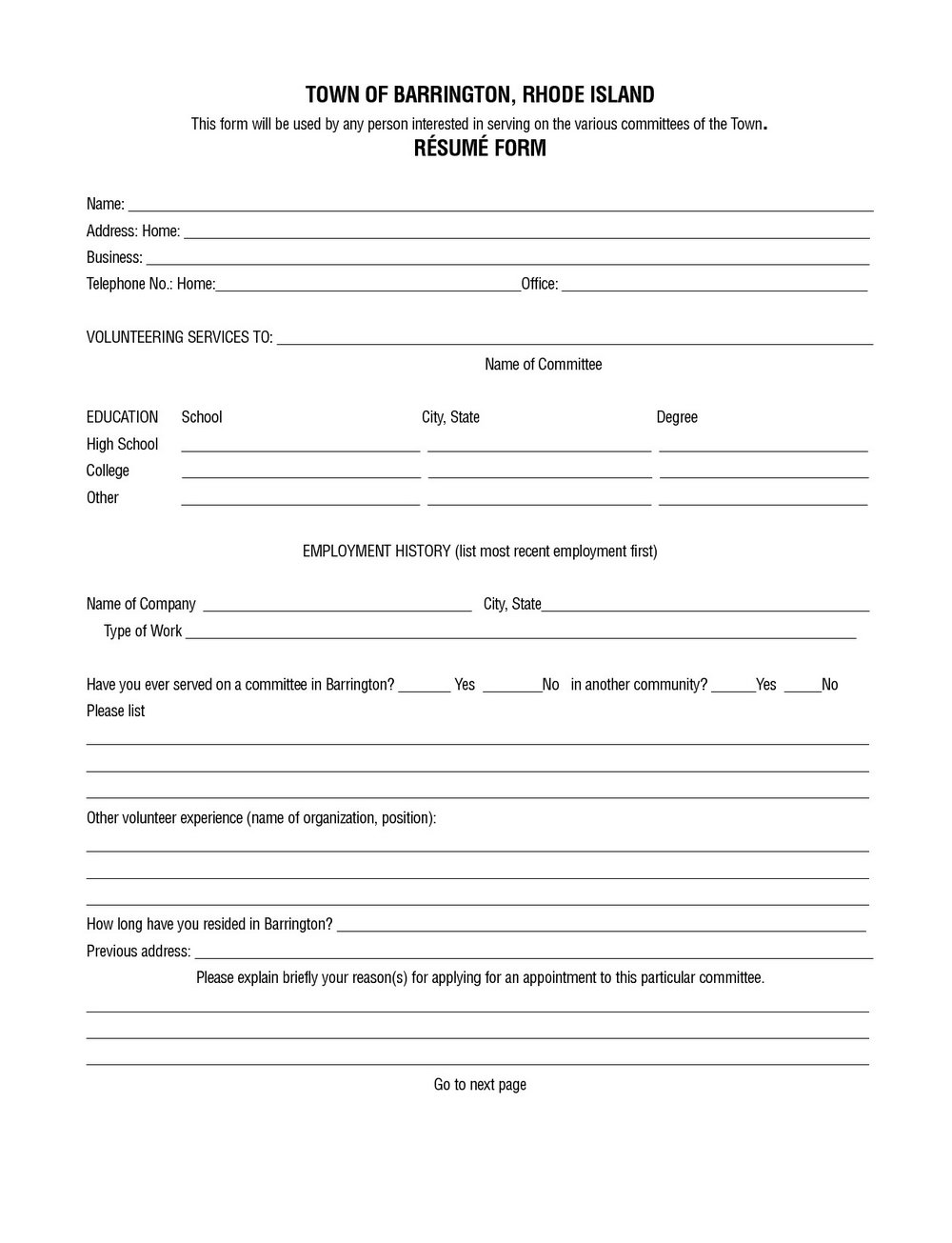 Free Printable Resume Form
