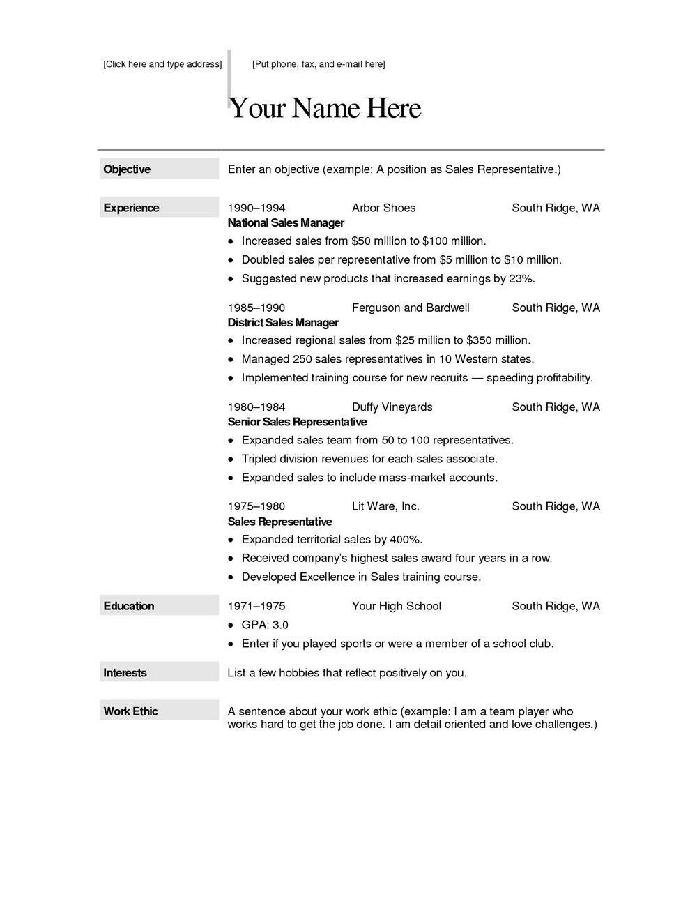 Free Printable Resume Format