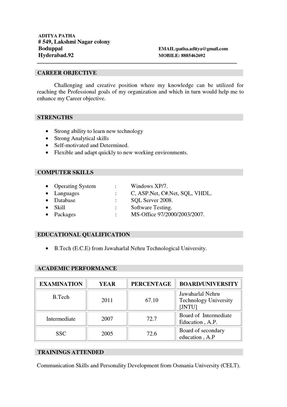 Free Resume Builder For Freshers