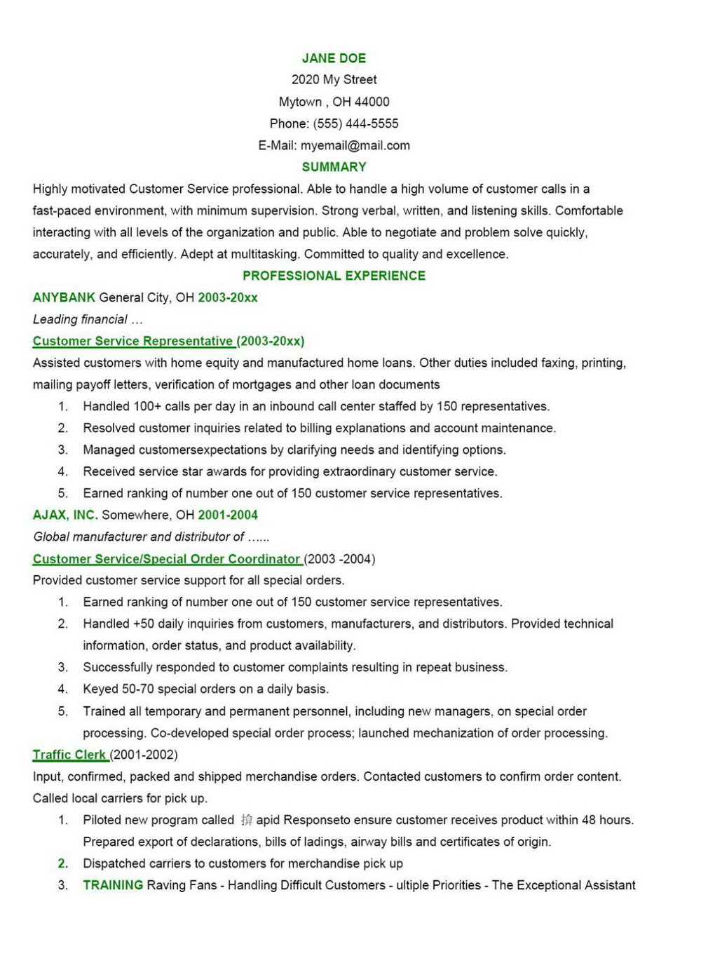 Inbound Call Center Resume Description