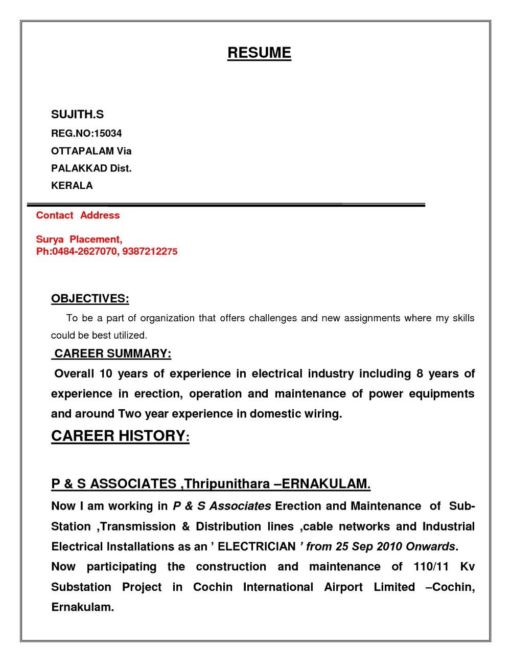Iti Electrician Resume Format Download