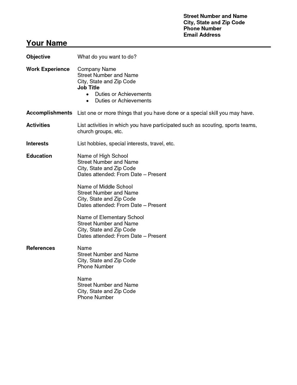 Job Resume Format Free Download