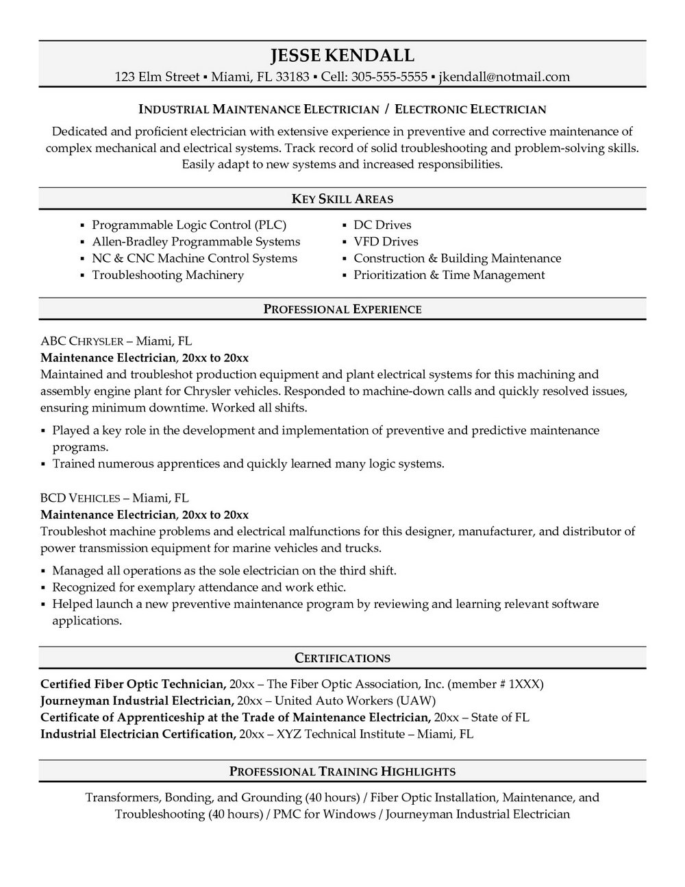 Journeyman Electrician Resume Template - Resumes #1496 | Resume Examples