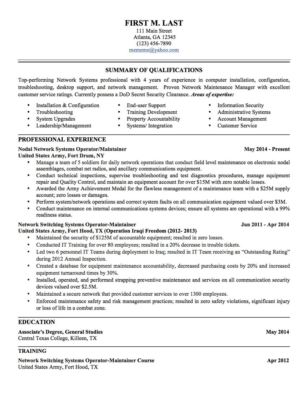 Military Resume Examples And Samples