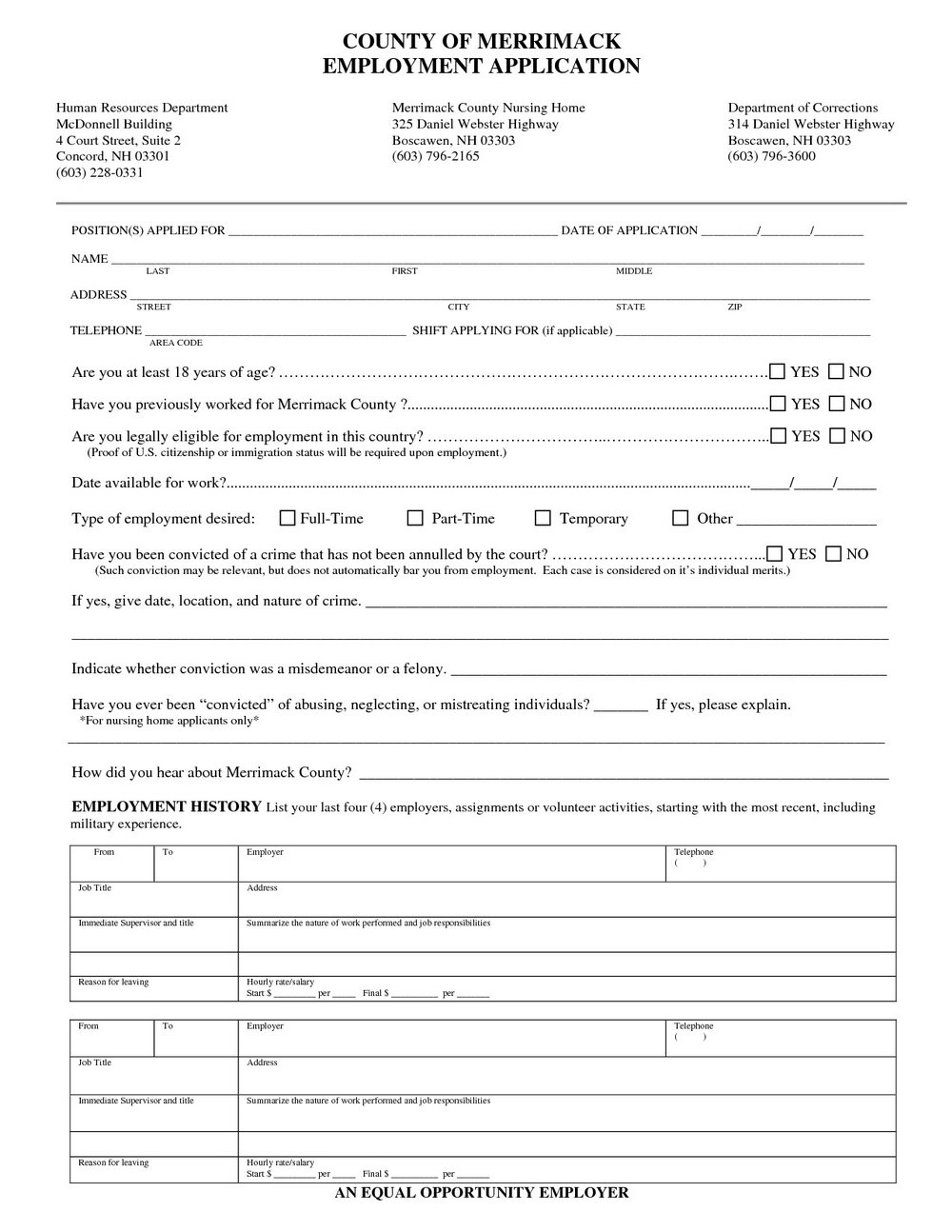 Nursing Job Application Form