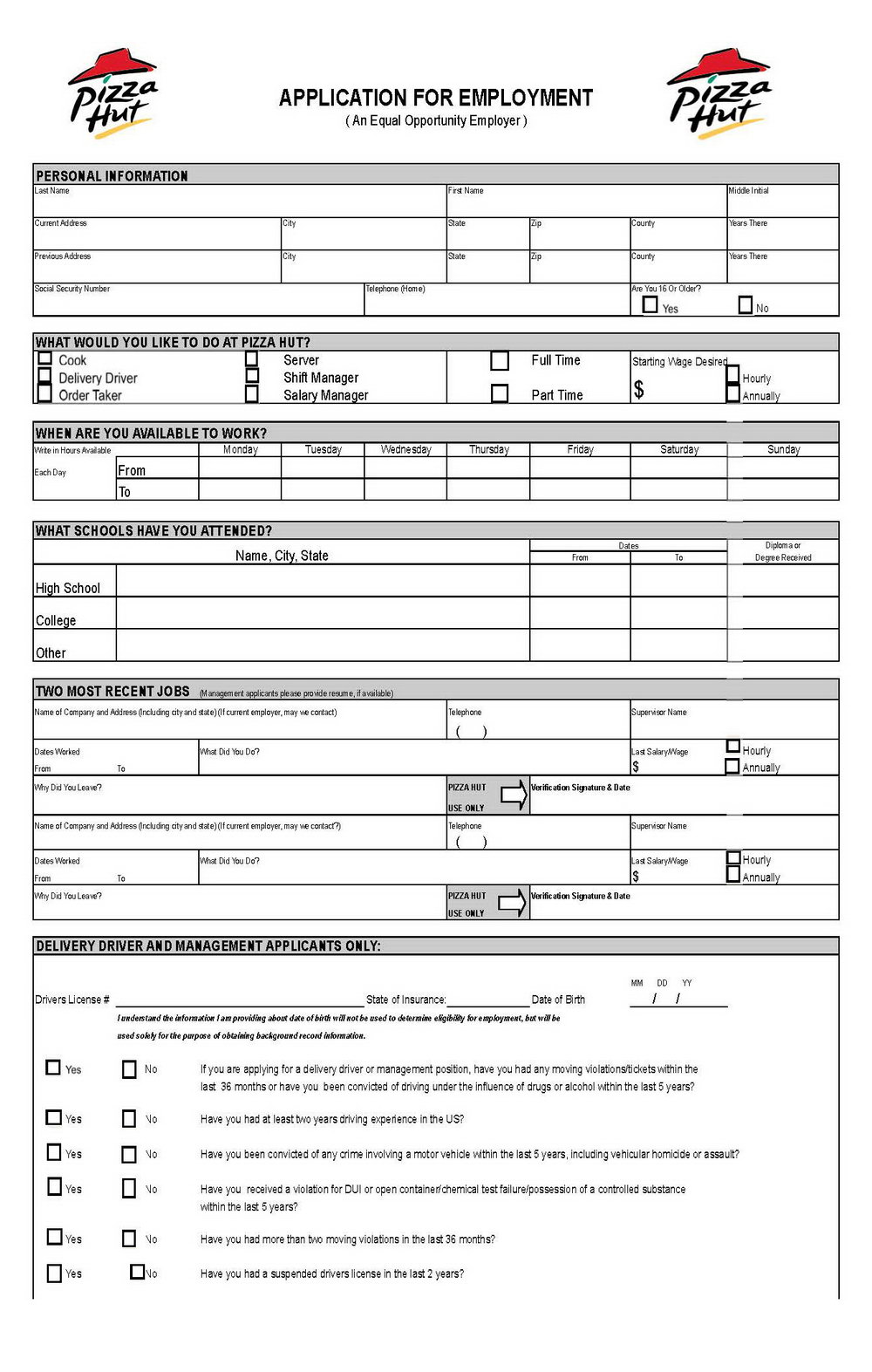 Pizza Hut Jobs Application Form Online