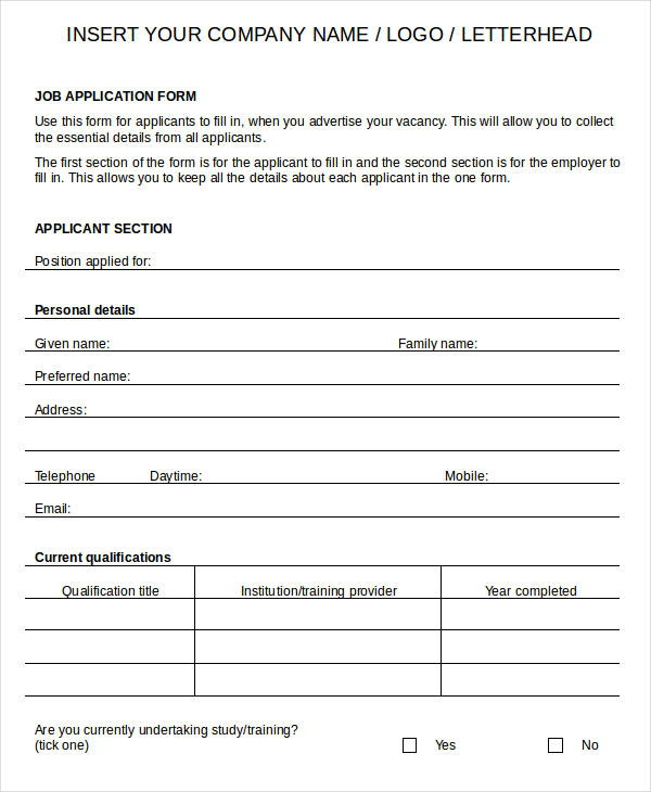 Printable Blank Job Application Forms