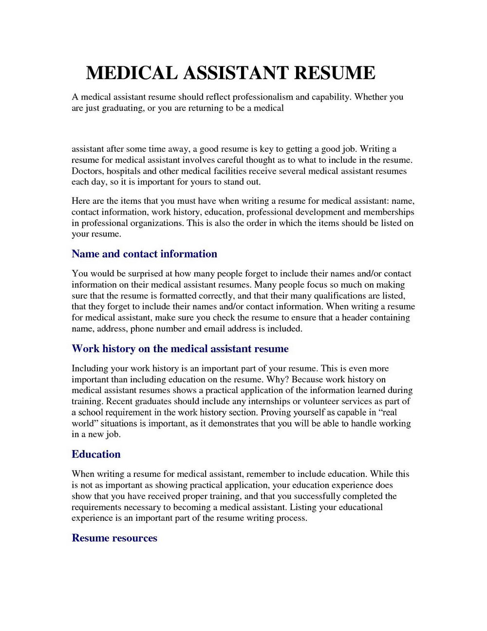 Professional Resume For Medical Assistant