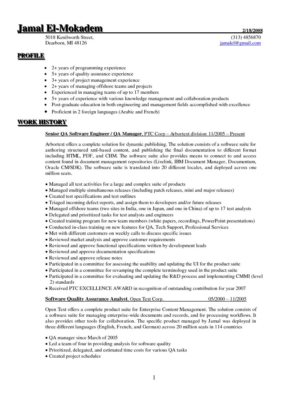 Quality Assurance Lead Resume