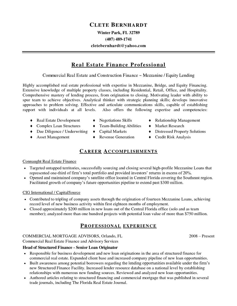 Real Estate Investor Resume