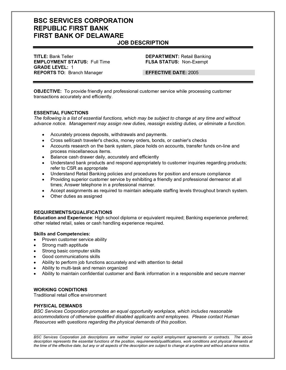 Resume Examples For Teller Position