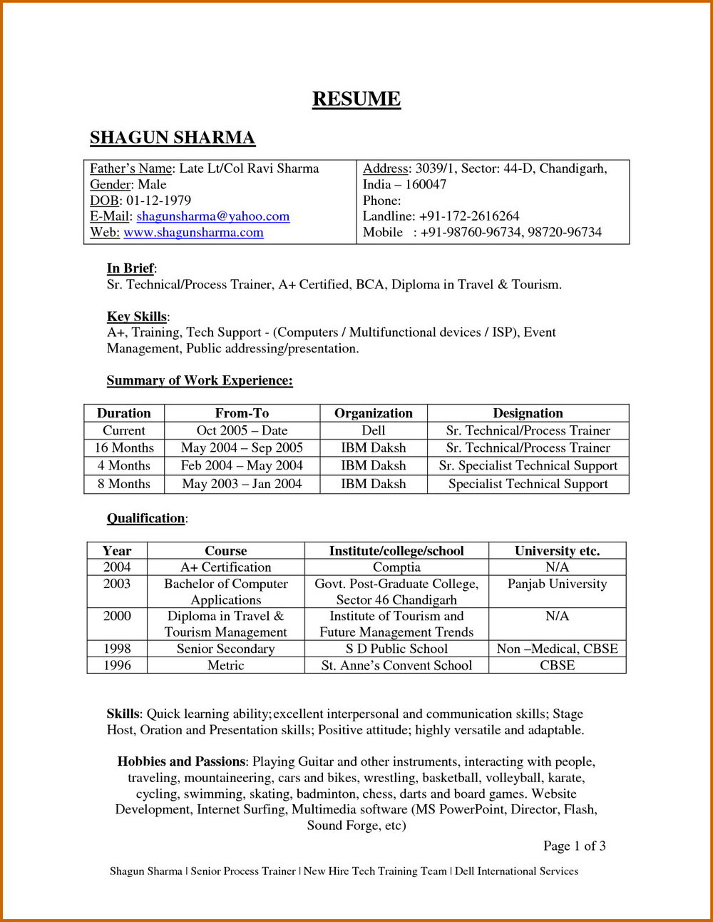 Resume For Aviation Job For Fresher - Resumes #MTUzMA ...