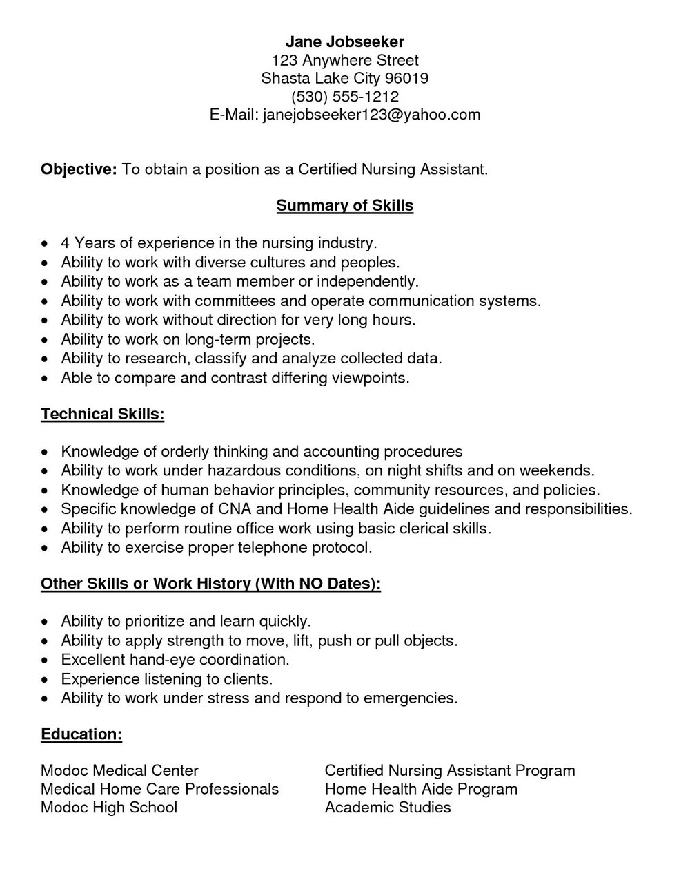 Resume For Nursing Assistant With No Experience