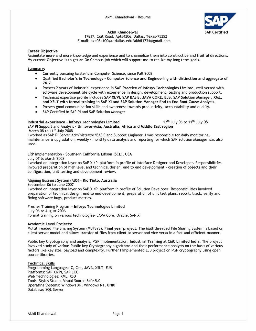 Resume For Sap Fico Freshers