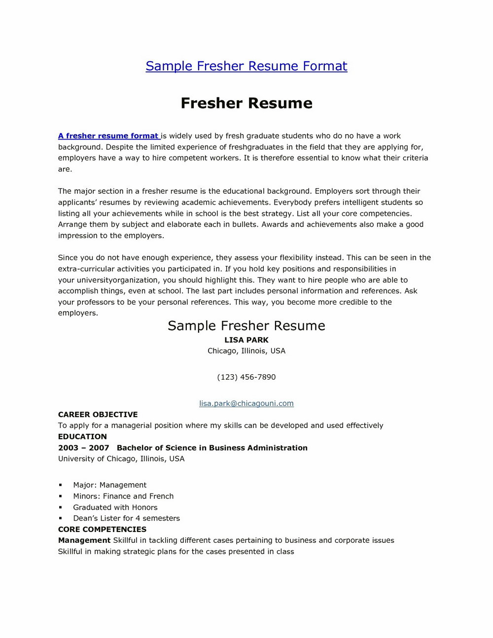 Resume Format For Freshers Free Download Latest Pdf