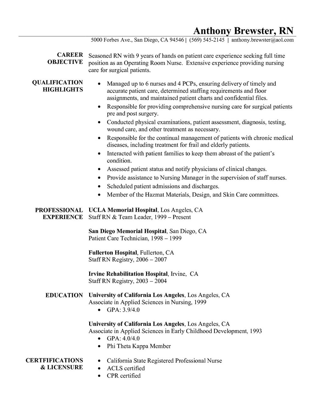 Resume Format For Nurses Freshers