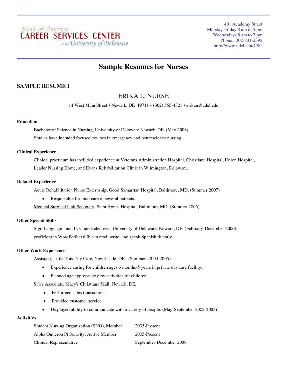 Resume Samples For Nurses Pdf