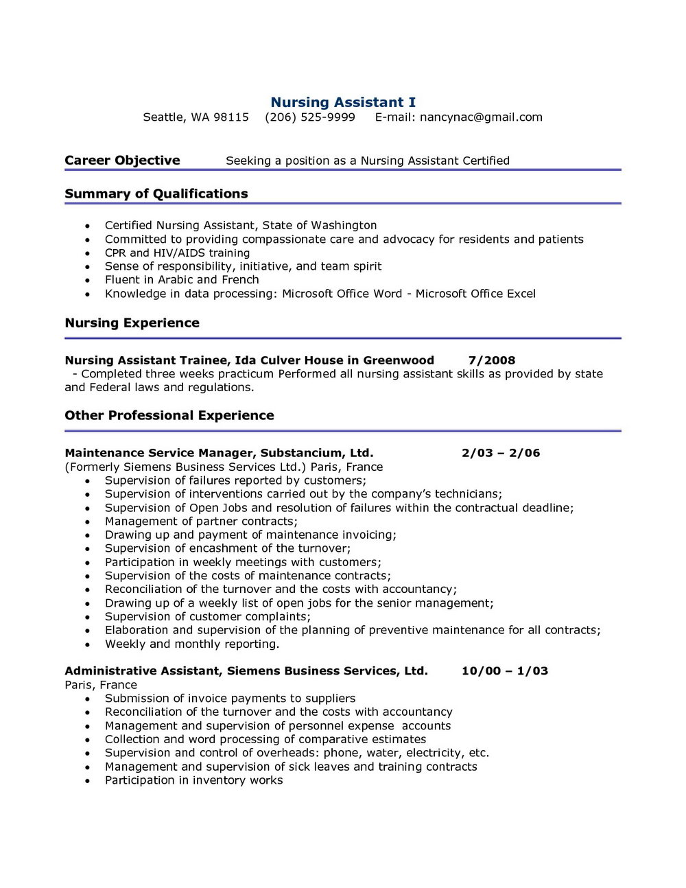Resume Templates For Cna