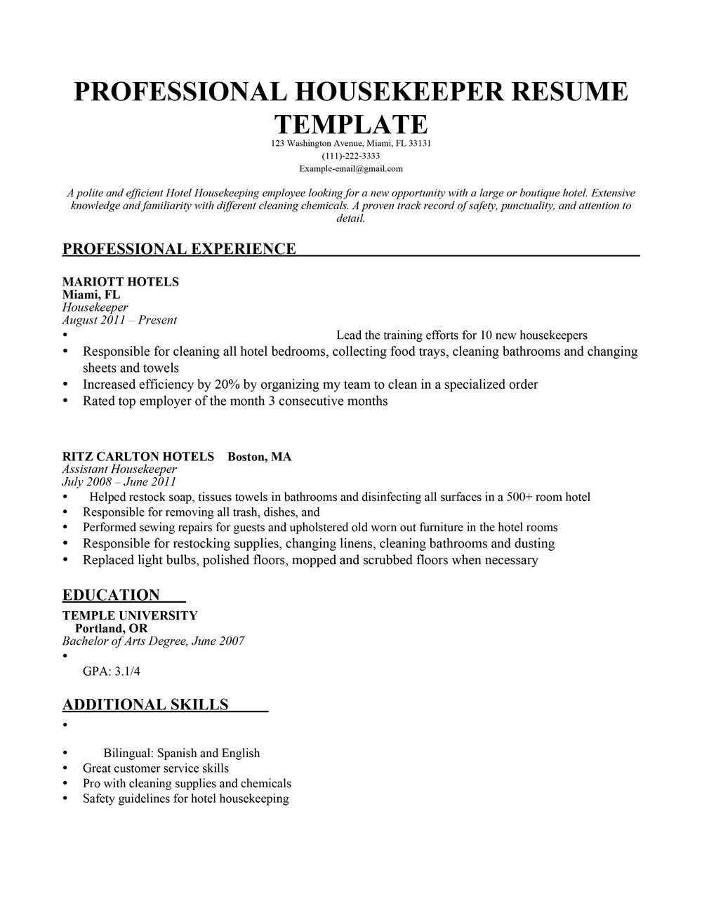 Resume Templates For Housekeeping Jobs Resumes Mtu2mg