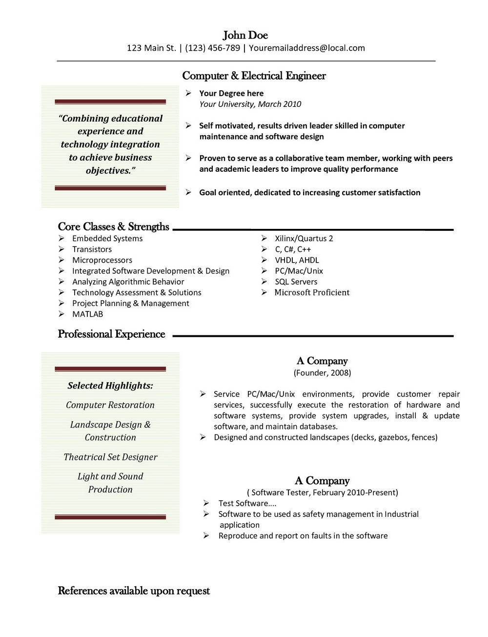 Resume Templates Free For Mac