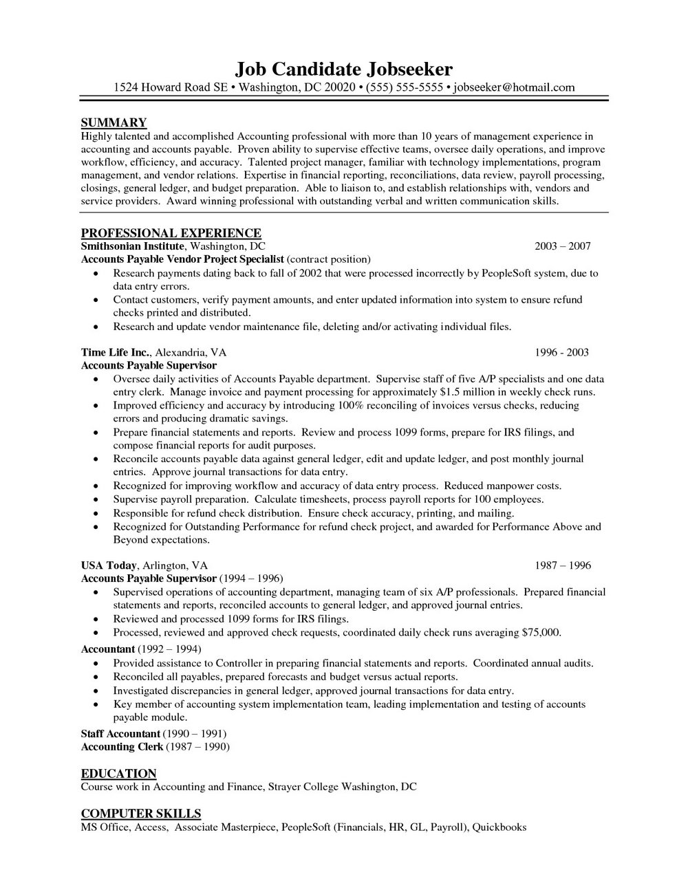 Sample Resume For Accounts Payable Specialist