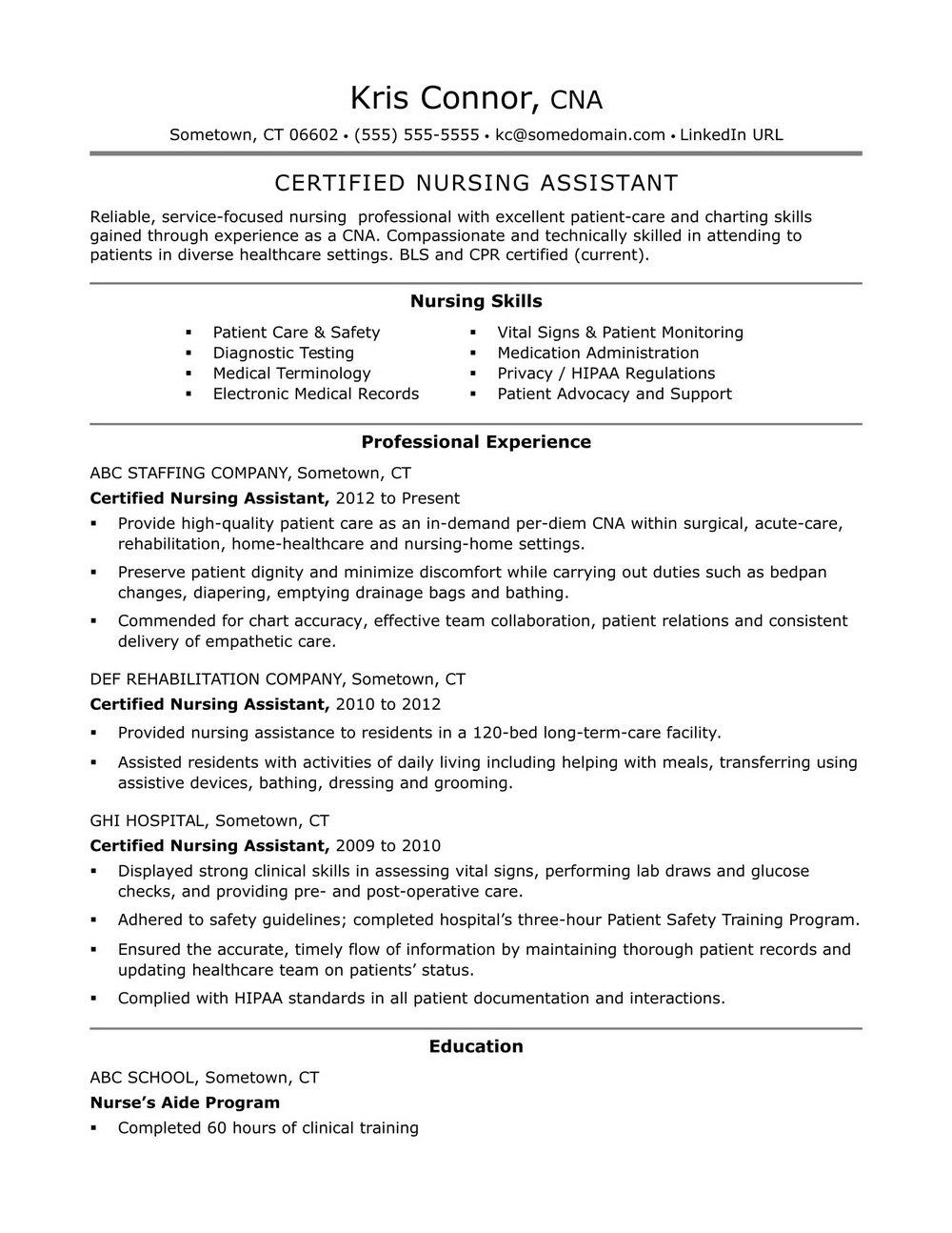 Sample Resume For Nursing Assistant