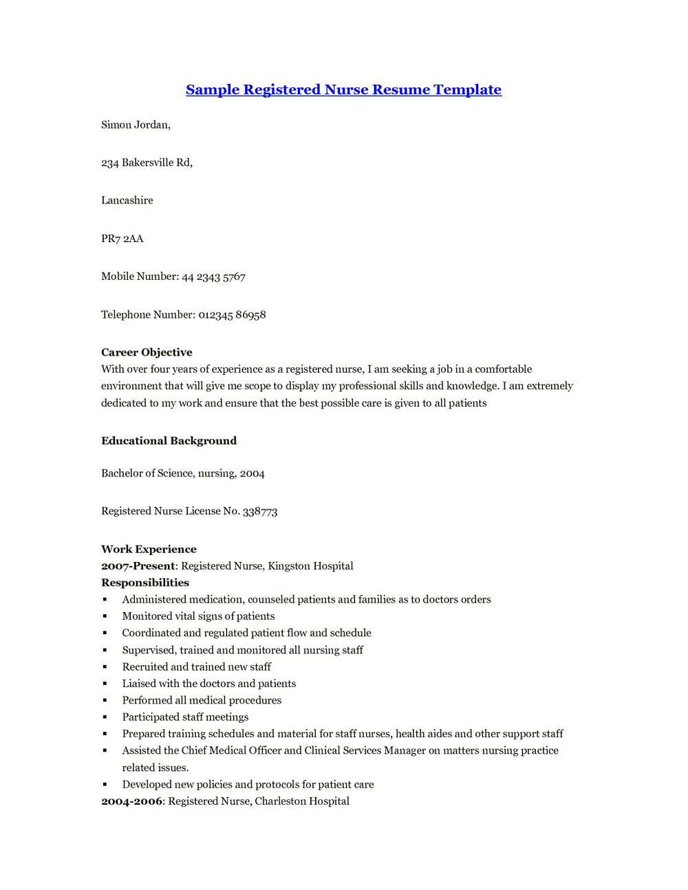 Sample Resume For Registered Nurse With Experience