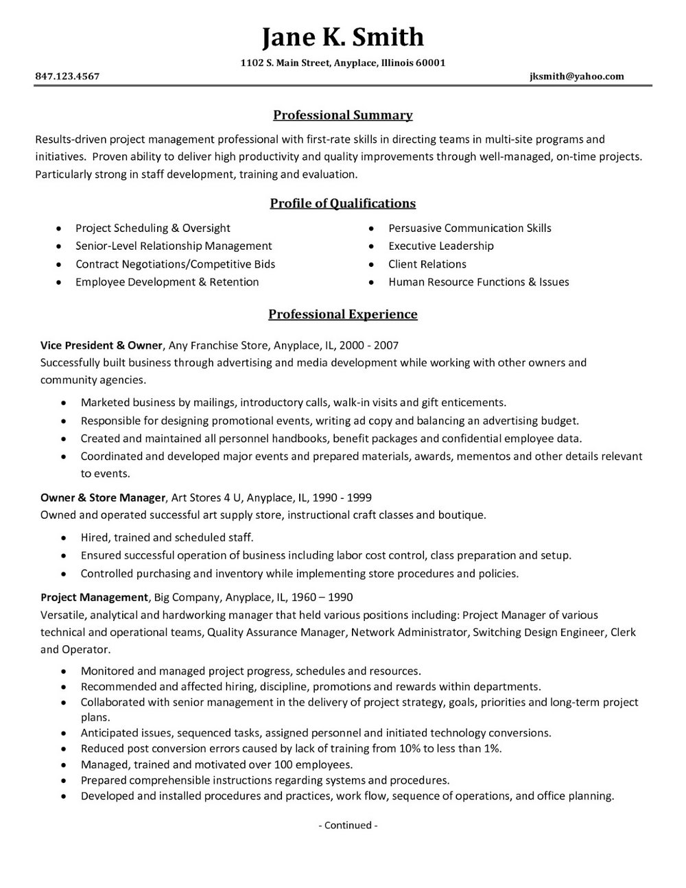 Sample Resumes For Project Managers
