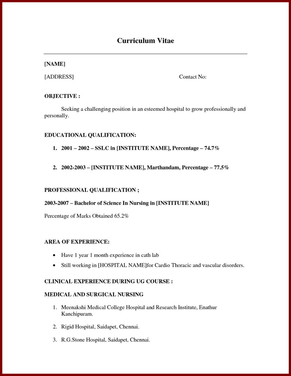 Samples Of Resumes For Jobs With No Experience