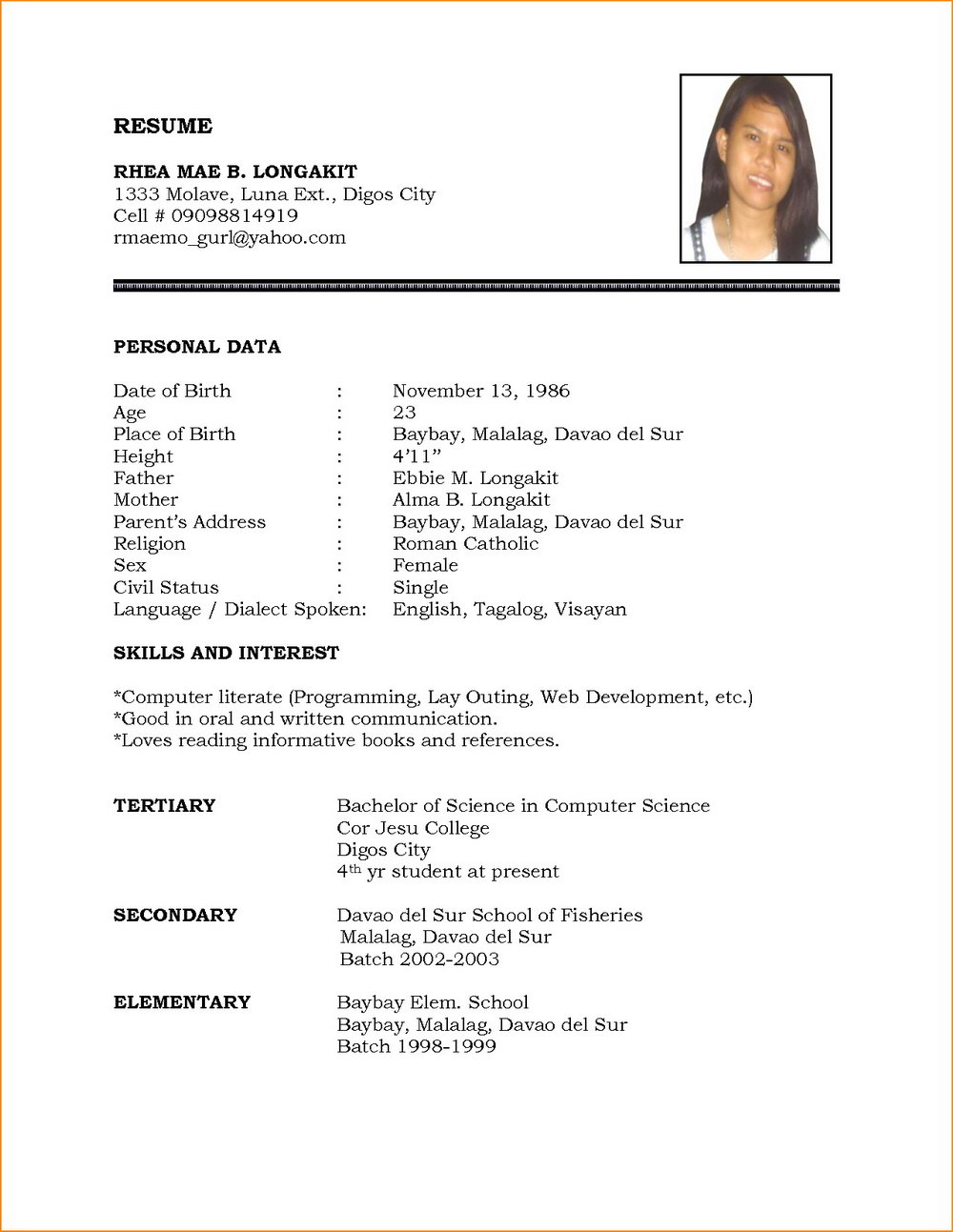 Samples Of Simple Resumes