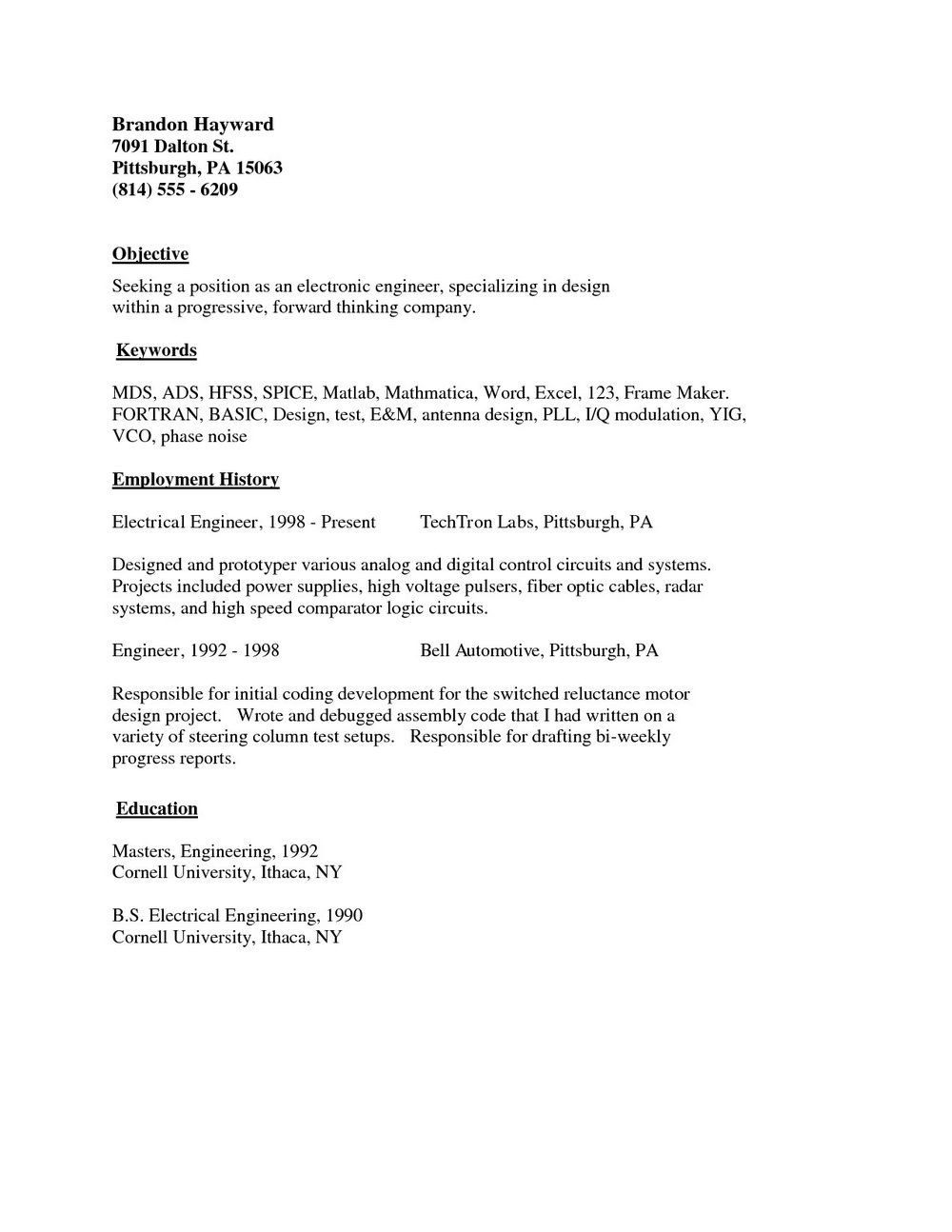 Simple Job Resume Format In Word