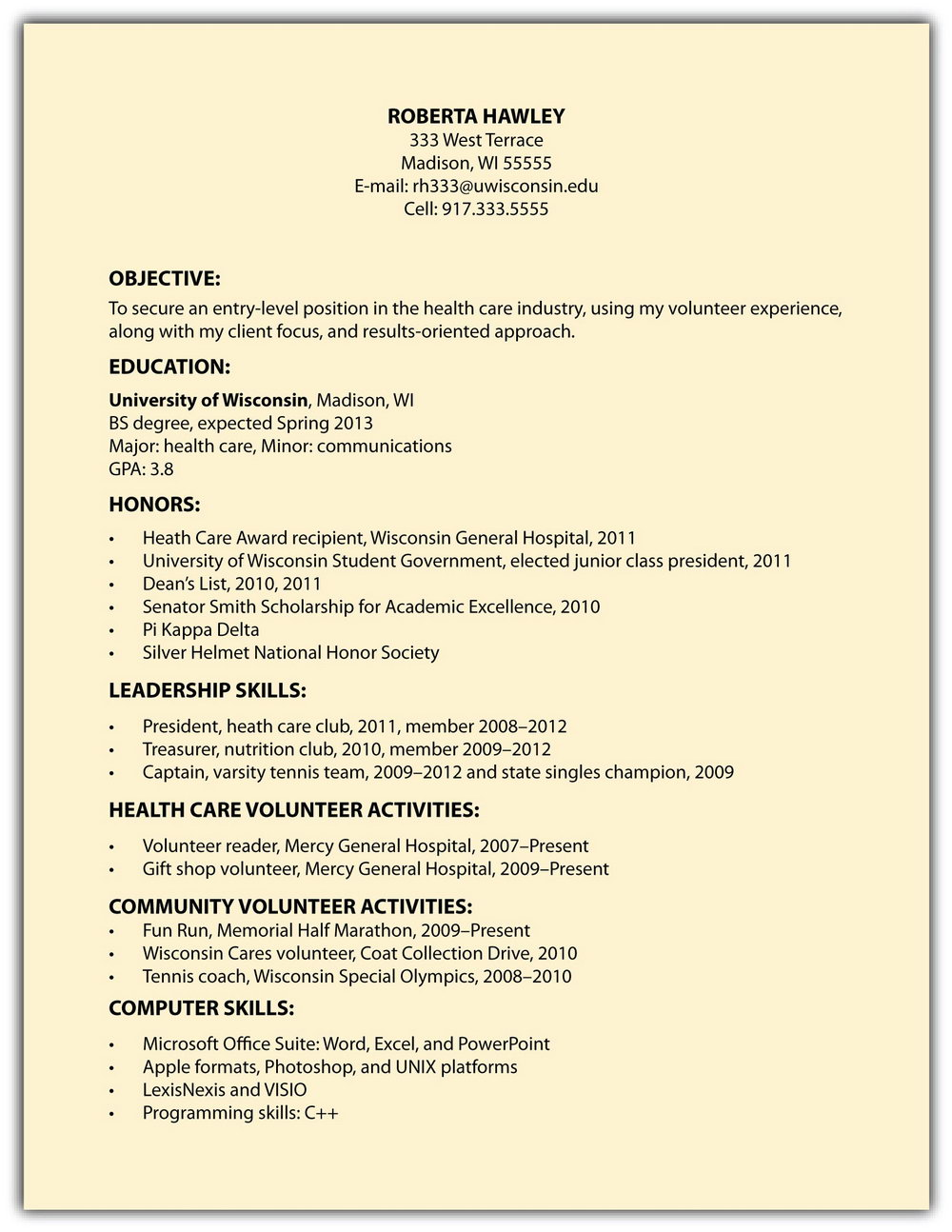 Simple Resume Format For Job Application