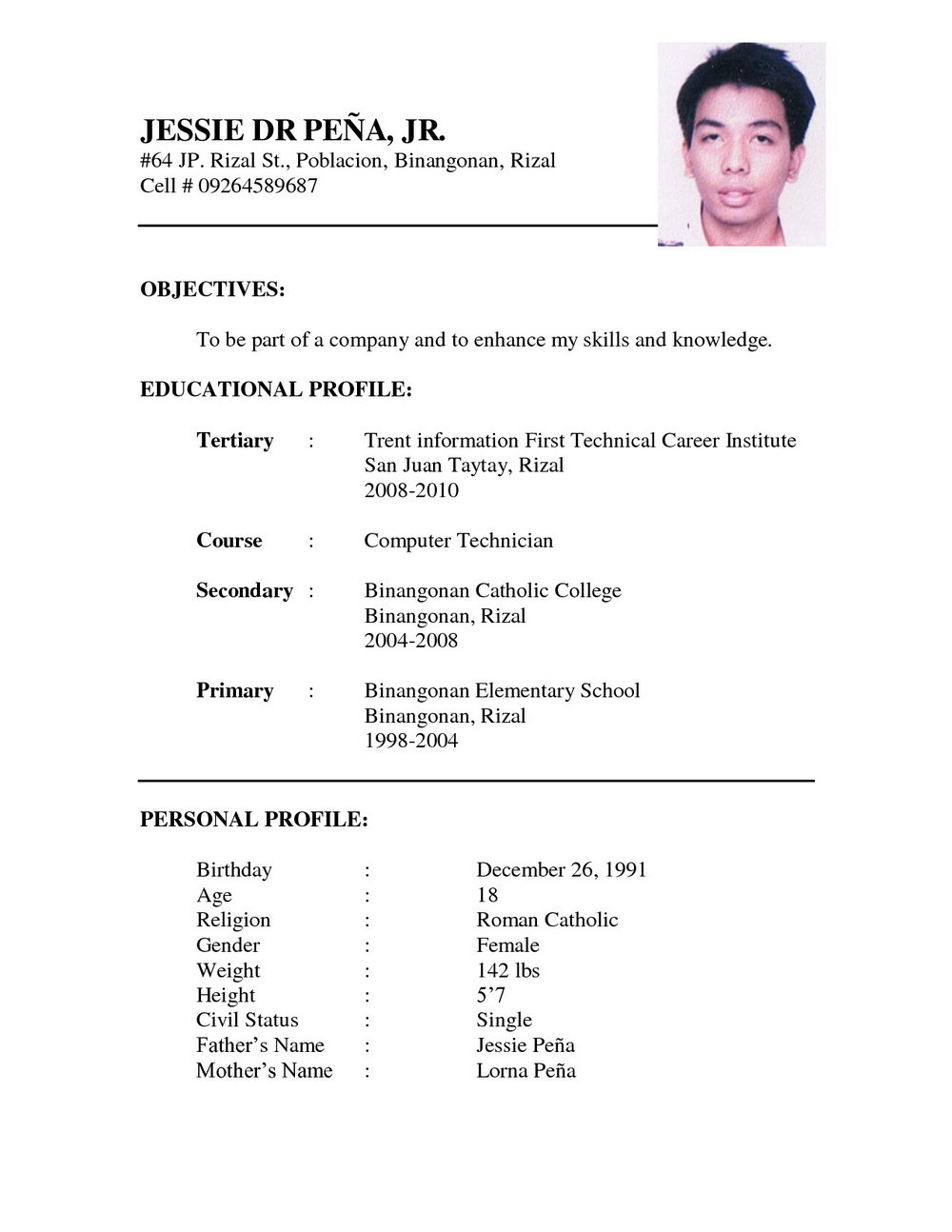 Simple Resume Format For Teacher Job