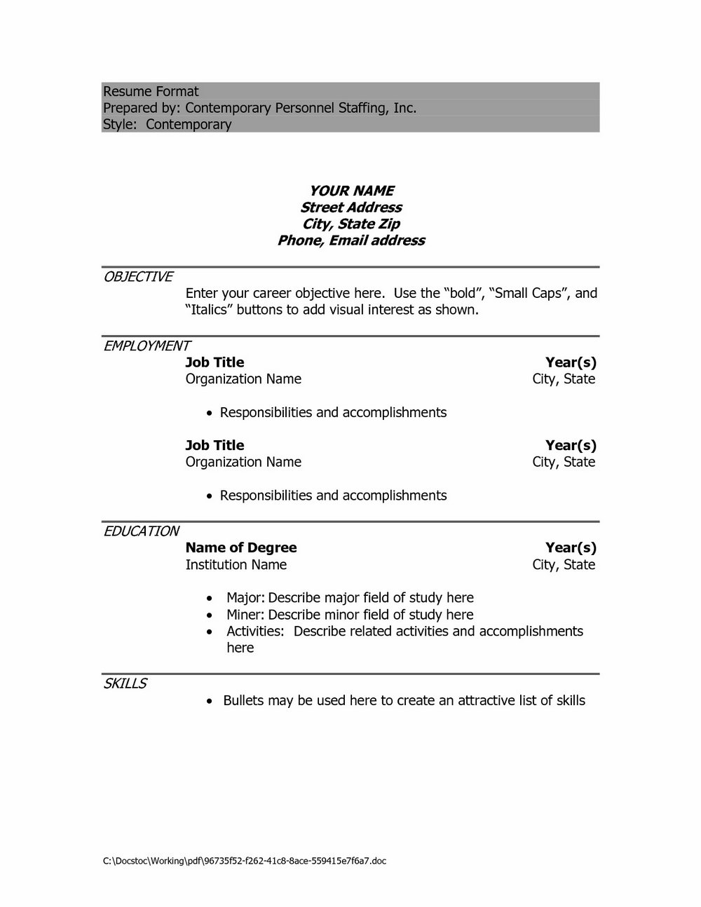 Simple Resume Format Pdf For Freshers